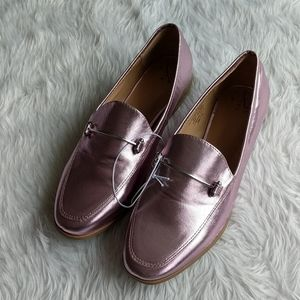 NWOT A New Day Pink Metallic Loafers